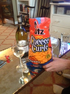 The buttery qualities of the Chardonnay really pair well with the orange cheese dust