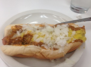 The American Dog (came with a fork, which was helpful for putting errant chili in my mouth where it belonged.)
