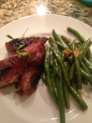 The finished product, served with lacquered skirt steak