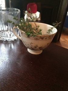 A pretty display of the thyme used in the cocktails