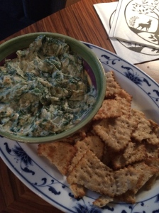 a vegan spinach dip brought by the night's babysitter who watched their daughter (Sam and Kim thought of everything!).  Non of us even realized it was vegan until we were told!