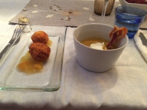 First course: spicy butternut squash soup with bacon garnish and winer squash and smoked gouda croquettes with a wonderfully bright and refreshing burnt orange compote
