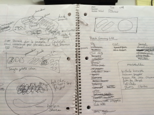 A excerpt from the notebook I use to plan bigger meals--this showing plating ideas for a duck dish and a shopping list.