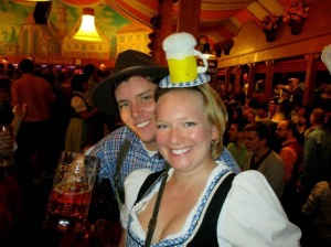 Buying dirndl and lederhosen (and, later, a beer hat) for Stuttgart's Oktoberfest