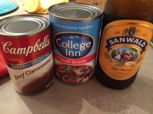 The Three Musketeers (of soup.) -- the consomme is necessary because of how it kicks up the beefy flavor.  I'm certain homemade would be better--but this is fine in a pinch. More on the beer later...